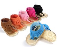 Wholesale fabric fringes - 2017 new Baby Tassel Sandals shoes Kids Pram Crib Summer First Walkers Fringe moccasins Shoes Infant Sandals
