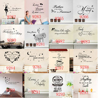 Wholesale Quotes Hot - 240 styles New Removable Vinyl Lettering Quote Wall Decals Home Decor Wall Stickers Mordern art Mural Nursery Living Room hot sale