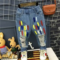 Wholesale Clothing Paint Spray - 2017 Spring paint spraying Boys wash Jeans Fashion Kids Sale Skinny Jeans blue Denim Ripped Jeans casual pants trousers Clothes Lovekiss A64