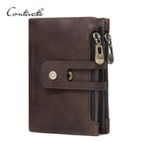 Wholesale Wallet Men Black Genuine Leather - CONTACT'S Genuine Leather Men Wallet Small Men Walet Zipper&Hasp Male Portomonee Short Coin Purse Brand Perse Carteira For Rfid
