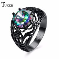 Wholesale Multi Color Flower Ring - Tuker New Multi-color Opal Female Ring Amethyst Round Zircon Black Gold Flower Jewelry Top Quality Wedding Rings For Women