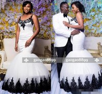 Wholesale wedding dress tank bodice for sale - Group buy 2019 New Fashion African Black Girl Trumpet Cheap Plus Size Wedding Dresses Bridal Gowns With Black Appliques Lace Tank Sheer Scoop Neck