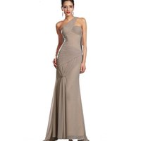 Wholesale Grecian Evening White Gown - Floor length sleeveless one shoulder natural court train long mermaid sexy elegant grecian evening prom dress gown free shipping