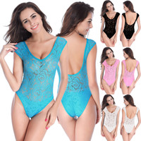 Wholesale Sexy Transparent Body Suits - Super Sexy 100% Lace Semi-Transparent Body Swimsuit Multi-Color Multi-Code High Elastic Europe And The United States Open Back Swimsuit