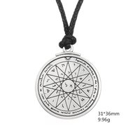 Wholesale Coins Free Shipping - Talisman of Wisdom Key of Solomon Pentacle Seal Pendant Kabbalah Wiccan For Good Luck Jewelry Rope Necklace Free Shipping