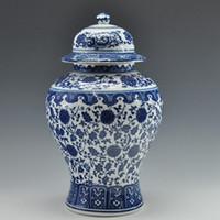 mavi beyaz antikalar toptan satış-Toptan-ÜCRETSIZ KARGO Çin Antik Qing Qianlong Mark Mavi Ve Beyaz Seramik Porselen Vazo Zencefil Kavanoz