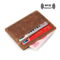 Carte De Crédit Cheval Prix-Garantie à 100% Crazy Horse Leather Slim Card Case for Men Porte-cartes RFID Blocking Sleeve pour carte de crédit Case 2017 Nouvelle marque de mode