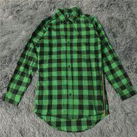 Wholesale Mens Yellow Plaid Shirts - Wholesale- mens fashion hip hop shirts streetwear urban clothing hiphop men clothes plaid zipper shirt kanye justin bieber