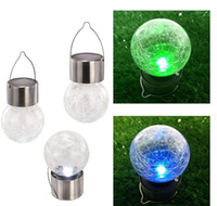 Wholesale Solar Powered Lights Color - Solar Powered Color Changing outdoor led light ball Crackle Glass LED Light Hang Garden Lawn Lamp Yard Decorate Lamp
