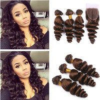 Wholesale Hair Color Chocolate - Malaysian Chocolate Brown 4x4 Lace Front Closure With 3Bundles Loose Wave Wavy #4 Medium Brown Virgin Human Hair Weaves With Lace Closure