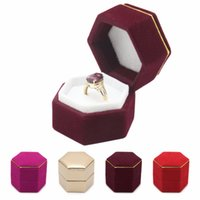 Wholesale Velvet Case Jewelry Holder - Hexagonal Finger Ring Box Jewelry Display Holder Velvet Ring Storage Box Case for Ring Earings More Color
