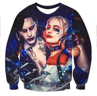Wholesale Purple Joker - Wholesale- Men women Hoodie Sweatshirt 3D Print Joker Harley Quinn Suicide Squad Hip Hop Hoodies Tracksuit Sweat Shirt Character Hooded