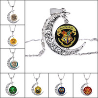 Wholesale Necklace Cabochon - film jewelry for fans Hogwarts Glass Cabochon Necklaces Moon Time Gem Pendants for Women Jewelry Gift 161810