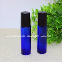 Wholesale Glass Perfume Bottles For Sale - 2017 Hot Sale 10ml Blue Glass Essential Oil Bottles for Perfume Bottles with Stainless Steel Metal Roller Ball Empty Make Up Bottles