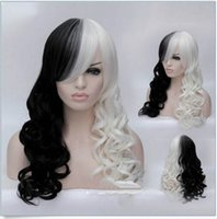 Wholesale Long White Wig Curly - 100% New High Quality Fashion Picture full lace wigs New Hot Women Cruella Deville Cosplay Wig Black White Synthetic Long Curly Wigs