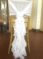 neue mode stuhl abdeckung großhandel-Arbeiten Sie neue Stuhl-Schärpe mit empfindlichen Hochzeits-Dekorations-Bambusstuhl-Abdeckungen des Chiffon- 3D um, die Zusätze Wedding sind Freies Verschiffen
