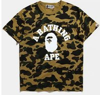 Wholesale Panel Head - APE T Shirt street shark head stitching camouflage printing 100% cotton men and women Hoodies skateboard short sleeve palace T-shirt