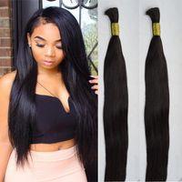"Wholesale Double Drawn Hair Bulk - 20"" 22"" bulk human hair for braiding silky straight black hair bulk hair extension unweft double drawn can be dyed"