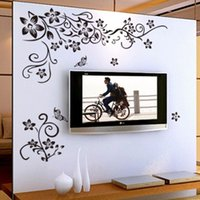 Wholesale Removable Black Vinyl Butterfly Vine Flower Wall Sticker decal Decals Wallpaper wall stickers Mural Home Decor for Living Room ZY027S