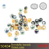 Wholesale Black White Vases - Charming DIY Flat Round Rondelle Beaads 4mm Plated colors A5040 150pcs set for Decoration Crystal Beads Vase