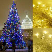 ingrosso stringa dei chrismas-220 V EU Plug 100M 600 LED Chrismas Lights Warm White Wedding Anno nuovo Natale Decorazione Twinkle String Fairy Lights
