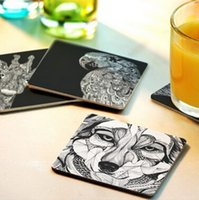 Wholesale Heat Proof Paint Wholesale - Wholesale- Free shipping Creative wood Coasters Cup Cushion Holder Non-slip heat proof coffee Coasters Cup Mat DIY hand painted,10pcs lot