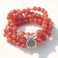 Wholesale Silver Mm Bead Necklace - SN1145 Handmade Women`s 8 mm Red Agate 108 Mala Beads Bracelet or Necklace Silver Lotus Buddha Ohm Charm Bracelet Wholesale