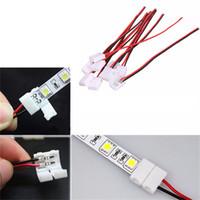geführtes enddraht großhandel-Umlight1688 Großhandel Draht mit 2 Pin Connector Adapter an 1 Ende für 10mm 3528 5050 Einfarbige LED Streifen Licht Solderless