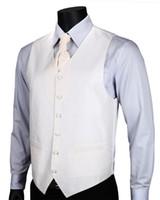Wholesale Suit Vest Cravat - Wholesale- VE03 White Floral Top Design Wedding Men 100%Silk Waistcoat Vest Pocket Square Cufflinks Cravat Set for Suit Tuxedo