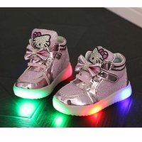 Wholesale Cheapest Kids Winter Shoes - 2017 New Cheapest Spring Autumn Winter Children's Sneakers Kids Shoes Chaussure Enfant Hello Kitty Girls Shoes With LED Light SC006