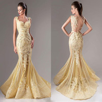 Wholesale Sweetheart Neckline Mermaid - Fashion Lace Appliqued Dresses Evening Wear Mermaid Sequins Sweetheart Neckline Sheer Backless Prom Dress Tulle Beaded Formal Evening Gowns