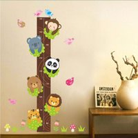 Wholesale Large Bears Wholesale - Removable PVC Children Wall Stickers Large Cartoon Bear Cat Lion Height Growth Chart Decal For Kids Room Decoration