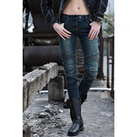 Wholesale Long Cotton Ladies Pants - Wholesale New uglyBROS Featherbed- UBS02 Lady fashion jeans gray blue jeans motorcycle riding pants free shipping