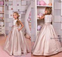 Wholesale Toddler Girl Bridesmaid Dresses - Ivory Cappuccino Lace Satin Flower Girl Dress Two Piece Party Holiday Birthday Bridesmaid Flower Girl Blush toddlers First Commuion Dresses