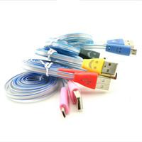 micro cable plano sonrie al por mayor-Cable Visible LED Micro USB V8 para S4 S5 S6 Edge Note4 Note5 Datos Sonrisa Color Se ilumina 1M Cable plano