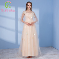 Wholesale Tulle Shawl Formal - SSYFashion New Sweet Champange Long Evening Dress with Shawl The Bride Banquet Lace Tulle Floor-length Prom Party Formal Dresses