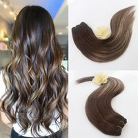 Wholesale Brown Frosted Hair Extensions - Straight Remy Human Hair Ombre Balayage Two Tone Colored Dark Brown to Light Brown Hair Extensions Full Head 100 Grams