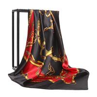 ingrosso sciarpe in chiffon di seta-Sciarpa da donna 90cm * 90cm Sciarpa di seta 100% per le donne 2018 tour primaverile Euro marca designer francese modello stampato regalo donne sciarpe scialle