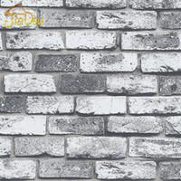 Wholesale Mural Wallpaper Brick Stone - Wholesale-Modern Vintage Brick Stone Room Wallpaper Mural 3D Vinyl Waterproof Embossed Wall Paper Roll Papel De Parede Home Decor 10M