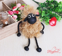 Wholesale Shaun Bag - 2016 New Lambs Wool Fur Real Fur Keychain Shaun the Sheep Key Chain Cute Natural Fur Women's Bags Hangings Keychain Mobile Charm