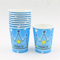 parti malzemeleri kronlar toptan satış-Toptan-10pcs Prens taç tema Kağıt bardaklar bebek duş düğün dekorasyon boys doğum günü partisi İçme fincan malzemeleri