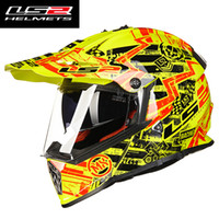 Wholesale Helmet Ls2 Cross - Wholesale- casque casco capacetes LS2 MX436 motorcycle helmet atv dirt bike cross motocross helmet double lens off road racing moto helmets