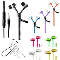 Wholesale iphone 5s headsets resale online - earphone Zipper Stereo mm Jack Bass metal Earbuds headset in ear Metal with Mic and Volume Earbuds Zip for iPhone s Samsung s5 MP3
