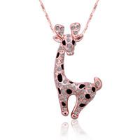 joyas de jirafa al por mayor-Venta caliente Rose Gold crystal jewelry collar blanco para las mujeres DGN522, jirafa colgante de gema de oro de 18 quilates Collares con cadenas