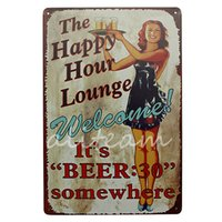 Wholesale Happy Hour Signs - Wholesale- New Stylish20*30 The Happy Hour Lounge Its BEER:30 Somewhere WELCOME Bar Tin Sign Coffee Sign Decor Retro Tin Poster Painting
