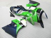 1999 zx6r fairings kiti toptan satış-Kawasaki Ninja ZX6R için düşük fiyat yüksek kalite kaporta kiti 98 99 derin mavi yeşil kaporta marangozluk seti ZX6R 1998 1999 ET34