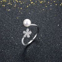 Wholesale Love Pearl Sterling Silver - New Fashion Arrivals 925 Sterling Silver Rings Women Pearl Crystal Zircon Rings 925 Sterling Silver Jewelry For Women Gift Love Engagement
