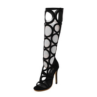 Wholesale Club Sexy Shoe For Women - Wholesale-New 2016 women summer boots sexy cut outs knee high boots women sandals party club shoes high heels gladiator sandals for ladies