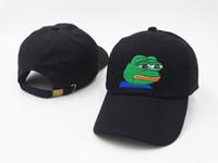 Wholesale Hot Frog - HOT 2017 Wholesale and retail Fashion hip hop Black pink Life Suck Hat Dad Strapback Cap Sad Frog Embroidery Meme Baseball cap