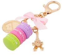 Wholesale Handbag Key Charm - Creative Macarons Cake Keychain LADUREE Effiel Tower Ribbon Key Chain Ring Women Handbag Bag Charm Fashion Trinket Wholeasle